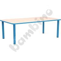 Rectangular Bambino table 40 cm with light blue edge