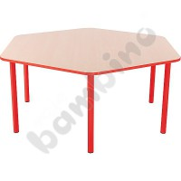 Hexagonal Bambino table 40 cm with red edge