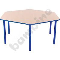 Hexagonal Bambino table 52 cm with blue edge