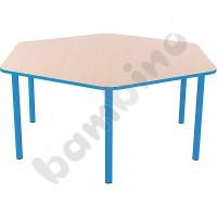 Hexagonal Bambino table 58 cm with light blue edge
