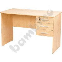 Vigo desk with rounded edges, with 3 drawers - beech