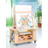Cabinet with an easel and paper roll