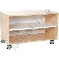Quadro - S cabinet with 1 shelf on wheels