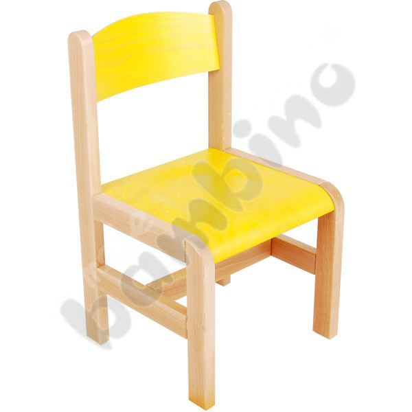 Wooden chair yellow with felt pads size 2 Moje Bambino