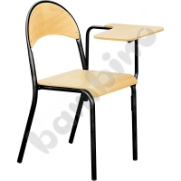 P chair with permanently fixed desktop size 6 for left handed black