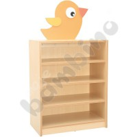 Cabinet for fabric containers with applique - bird